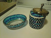 blue and teal glass container and  soap bowl Eau Claire, 54703