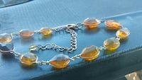 Faceted teardrop Baltic amber healing anklet