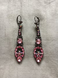 """Sparkly pink rhinestone earrings from Express. 3"""" long. Annandale, 22003"""