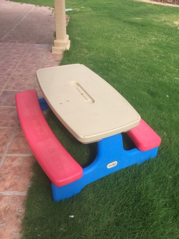 Used Brown Red And Blue Little Tikes Picnic Table For Sale In Pretty