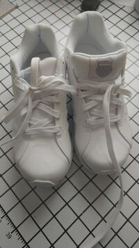 pair of white basketball shoes