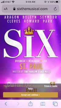 5 great seats/tickets to the SIX play at the Ordway  MINNEAPOLIS