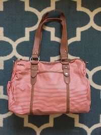 red and white stripe leather shoulder bag