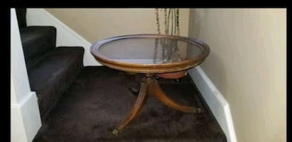Vintage round glass table
