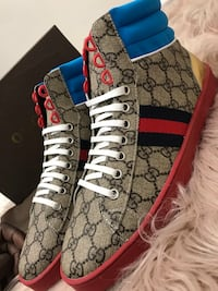 Gucci Ace GG Monogram Sneakers Hightop Men size 10/10.5/44 Silver Spring, 20904