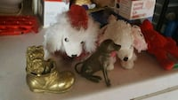 two white poodle plush toys and two brass-colored dog figurines Deseronto, K0K 1X0