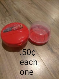 red Cars print plastic container