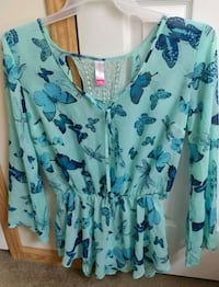 teal and blue butterfly print v-neck long-sleeved dress Bonneau, 29431