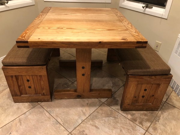 Solid Wood Kitchen Table 2 Benches + 1 Chair