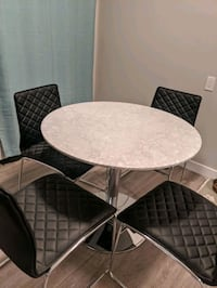 Structube Marble Round Dining Table with 4 Chairs