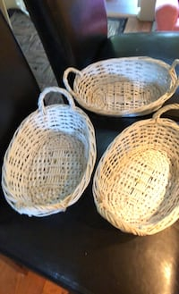 3 small White wicker baskets. Springfield, 22153
