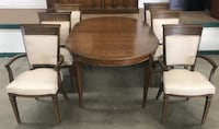 Gibbard Solid Walnut Seven Piece Dining Room Set with Two Leaf's null