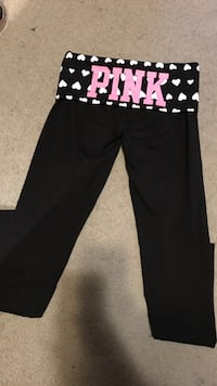 PINK leggings with heart waist full down, Authentic, black, size xs, excellent condition