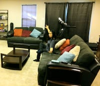Excellent leather sofa set with 1 center and 2 side tables glass top Hanover, 21076