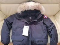 black and white zip-up parka jacket Vancouver, V5P