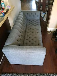 tufted gray suede sofa with throw pillows Ajax, L1S