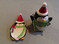 Christmas penguin jar and plate  Evansville, 82636