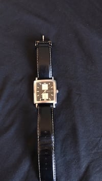 Watch - Kenneth Cole Black Leather Strap Vaughan