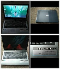 black and silver Acer laptop collage