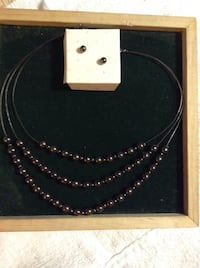 Dark grey 3 strand pearl necklace with matching earrings Gastonia, 28054