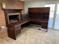 L shaped desk with hutch.  Great condition very sturdy, no room.  Locking cabinets with keys included and electrical hookup for computer, keyboard hookup.  You haul $300/obo Germantown, 20874