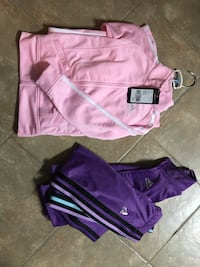 two pink Adidas zip-up jacket and purple track pants Georgetown, L7G 1K8