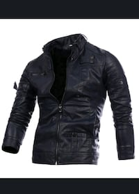 black leather zip-up jacket Richmond Hill, L4E