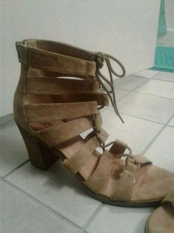 brown leather open toe ankle strap wedges