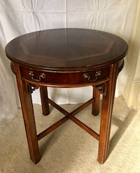 Inlaid solid wood table with drawer 17 mi