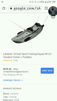 Lifetime 10' Fishing Kayak  Des Moines, 50309