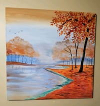Relaxing fall trees on lake art