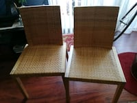 two brown wooden framed padded chairs Los Angeles, 91335