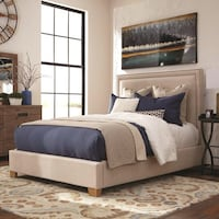 King Flat Panel Upholstered Nail Head Bed Charlotte, 28216