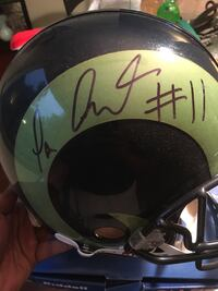 Rams Green and black autograph football helmet  Columbia, 21045