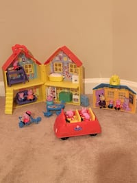 Lot of Peppa Pig Toys—Figures, House with Furniture, Car, and Schoolhouse Vienna, 22180