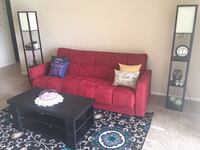 Red Futon/convert-a-bed (full size), two floor lamps with shelves and white linen shade (bulbs included), coffee table and a Persian rug ! Whole set 260 bucks but each item can be sold separately  Wheeling, 60090
