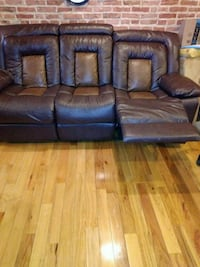 brown leather 3-seat sofa Washington, 20018