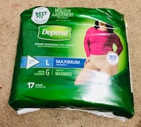 10 packs of depends size Large (17 in each pack) Oakville, L6M 3J1