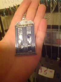 blue and gray Police box pendant necklace