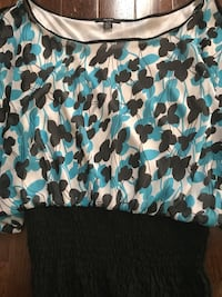 Blue, White & Black Ladies Top