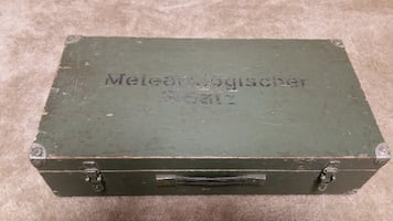 wooden  crate olive drab German military wood case chest crate box