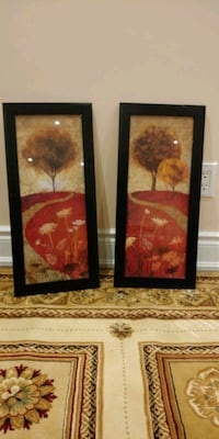two black wooden framed painting of flowers Brampton, L6P 2M1