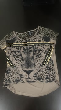 White and black leopard graphic scoop-neck blouse Calgary, T2Y 2T4