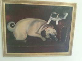 Antique large oil painting.  Dog and cat.