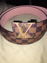 purple and brown Louis Vuitton leather belt
