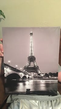 white and black Eiffel tower painting