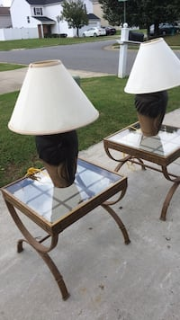 Two brown wooden base white shade table lamps Concord, 28027
