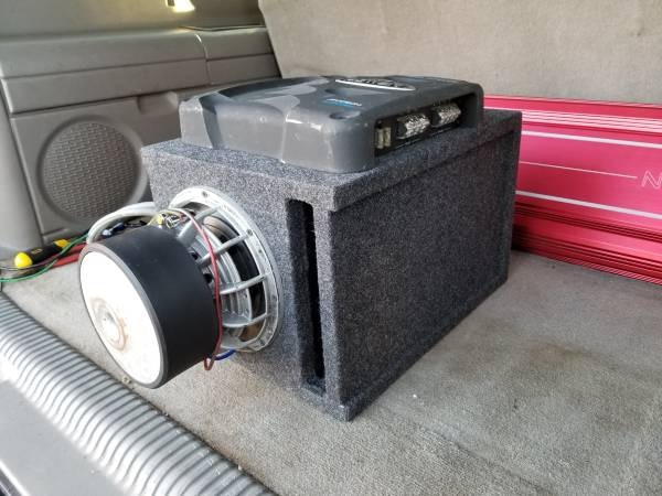 Photo Serious people Only 8Audiopulse sub in ported box and 350 mono amp