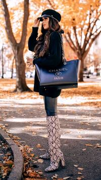 Chanel Large Studded Leather Deauville Bag Chicago