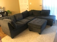 Dark grey fabric sectional sofa with ottoman Silver Spring, 20852